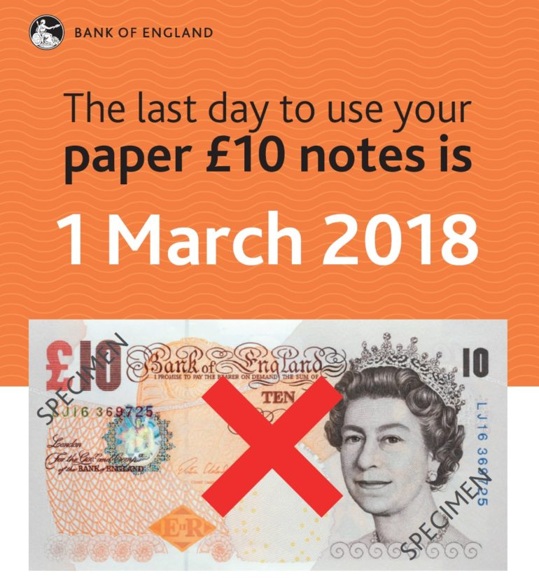 Last day to use £10 note